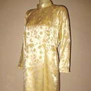 1980s Vintage Women's Oriental Style Yellow Damask Satin Lounging Pajamas Size Medium