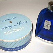 Vintage Evening in Paris Bath Powder Container & Eau de Cologne Bottle