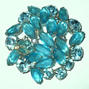 1960s Vintage Jewelry Teal Blue Glass Pin