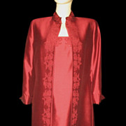 1980s Vintage Coat & Dress Ensemble Dark Red Silk Size Medium