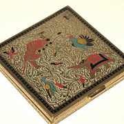1950s Vintage Volupt� Powder Enameled Compact Persian Animal Motif