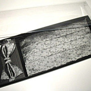 1980s Vintage Jonathan Wachtel Men's Silver & Black Silk Cummerbund & Bow Tie Set New in Box