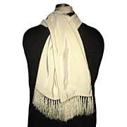 1940/50s Vintage Men's Cream Fringed Opera Scarf