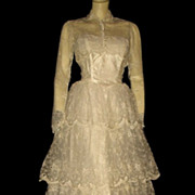 1950s Vintage Tiered Ivory Wedding Dress with Bolero Hand Embroidered Size Extra Small