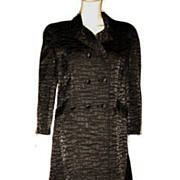 1960s Vintage Black Satin Pliss� Coat Size Medium