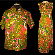 1970s Vintage Hawaiian Matching His & Hers Aloha Holoku Dress & Shirt Pomare Tahiti Honeymoon
