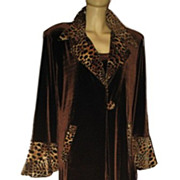1980s Vintage Brown Velvet Coat & Pant Suit Leopard Print Trim Size Medium