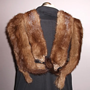 1940s Vintage Four Brown Mink Pelts Stole Collar Shawl
