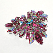 1960s Vintage Signed Sherman Fuchsia & AB Swarovski Glass Pin