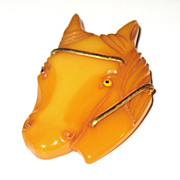 1940s Vintage Butterscotch Bakelite Horse Head Pin