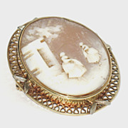 Estate Jewelry 14K Gold Carved Shell Cameo Pin