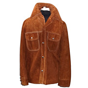 1970s Vintage Mens Suede Leather Jacket Size 40
