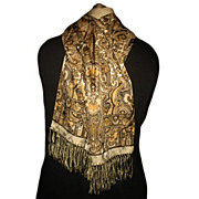 1940s/50s Vintage Men's Kaffir by Stylebest Fringed Scarf Gold & Black