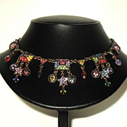 Vintage Signed Kirks Folly Rainbow Colored Festoon Necklace