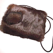 1940s Vintage Child's Brown Rabbit Fur Muff Purse