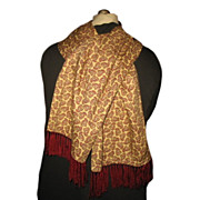 1960s Vintage Men's Tootal Fringed Scarf Yellow Paisley & Burgundy Red