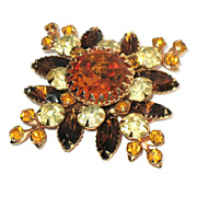 1960s Vintage Signed Judy Lee Pin Amber Glass