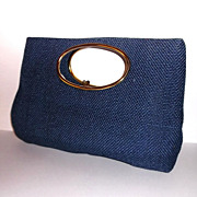 1970s Retro Vintage Large Blue Woven Handbag