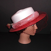 1980s Vintage Sandra NY Coral Red & White Striped Straw Netted Hat