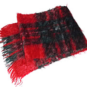 1980s Vintage Red & Green Mohair Scarf