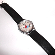 SALE PENDING 1991 Vintage Lorus Backwards Goofy Watch with Black Leather Strap.