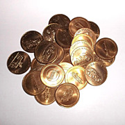 1968 Set of 25 Car Tokens Vintage Models