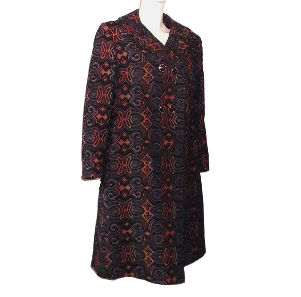 1960s Vintage Floral Brown & Orange Tapestry Coat Size Small/Medium Petite