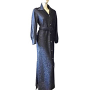 1970s Vintage Loll-Ease Black Metallic Belted Gown Size Small/Medium