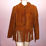 1980s Vintage Ladies Fringed Suede Jacket Size Small/Medium