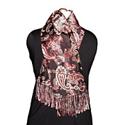 1940/50s Vintage Men's Fringed Scarf Black Satin with Burgundy Paisley Print