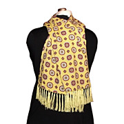 1960s Vintage Men's Sammy Fringed Scarf  Yellow & Red