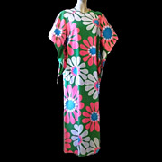 1960s/Early 70s Vintage Aloha Dress Pake Muu Neon Pink & Green Lounger Size Large