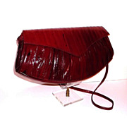 1980s Vintage Dark Red Eel Skin Leather Purse