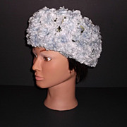 1960s Vintage Gay-Paree Blue Silk Floral Hat