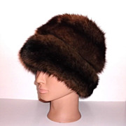 1960s Vintage Black Satin & Fur Hat