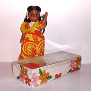 Early 1970s Vintage Anela Angel Anekona Hawaiian Doll in Box