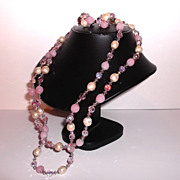 1960s Vintage Signed Sherman Pink Crystal Beads & Simulated Pearls Two Strand Necklace & Earri