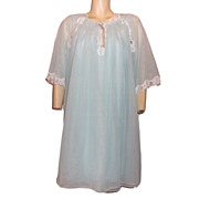 1970s Vintage Luv'Lee Aqua Blue Baby Doll Peignoir Set Size Medium