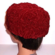 1960s Vintage Dark Red Ruched Velvet Hat