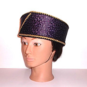1980s Vintage Purple & Gold Pill Box Hat