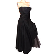1950s Vintage Fred Perlberg Black Taffeta & Tulle Cocktail Bombshell Dress Size 5/6