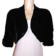 1950s Vintage Vanette Creations Black Velvet Bolero Jacket Size Medium