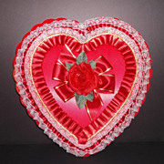 Vintage Valentine Red Satin & Rose Large Heart Shaped Candy Box