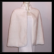 1960/70s Vintage Cream Faux Fur Capelet Shabby Chic Size Small to Medium