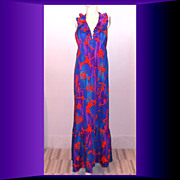 Early 1970s Vintage Pennys Hawaii Aloha Hawaiian Halter Dress Size Medium