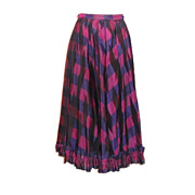 1980s Designer Vintage Jaeger Silk Blend Skirt Purple & Cerise Size Small