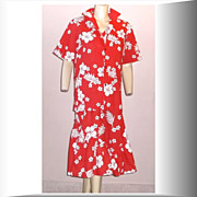 1970s Vintage Helena's Aloha Hawaiian Red & White Floral Two Piece Ensemble Size Medium