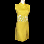 SOLD 1970s Vintage Bleeker Street Mini Dress Yellow & Green Floral Crochet Size Medium