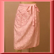 1970s Vintage Lilly Pulitzer Wrap Skirt Pink Floral Cotton Size Small