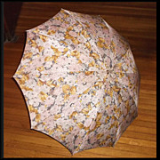 1960s Vintage Brown Floral Umbrella with Lucite Handle